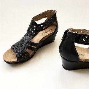 c9889d086f Earth Shoes   Origins Black Leather Kingsley Wedge Sandal   Poshmark