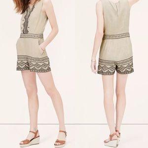 • Ann Taylor Loft Petite Linen Aztec Romper •