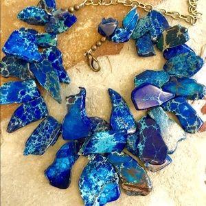 Blue sediment jasper chunky statement necklace 🙂