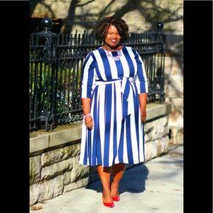 Dresses & Skirts - Blue & White Stripe Midi Dress