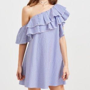 Dresses & Skirts - Blue white stripe one Shoulder layered frill dress