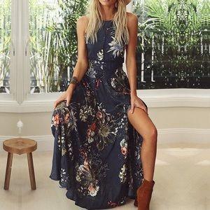✨ Open Back Blue Floral Halter Maxi Dress