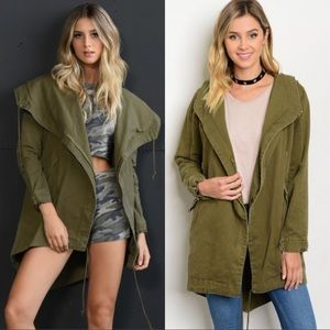Jackets & Blazers - ❤️ Olive Zipper Front Double Flap Army Jacket