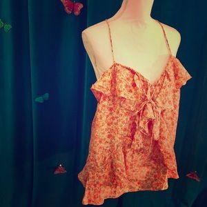 BANANA REPUBLIC Orange Floral Print Silk Cami XL