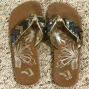 Report sequined flip flops