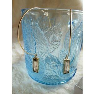 Valentine's Gold Hoop Baguette Crystal Earrings