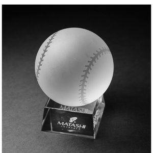 Crystal etched baseball paperweight