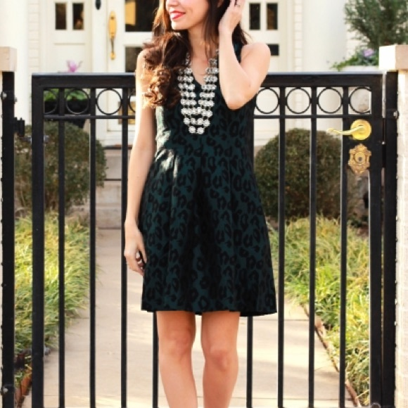 052fb2fdf5 LOFT Dresses   Skirts - 00P LOFT leopard print jacquard dress dark green