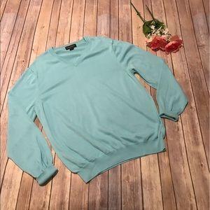 Brooks Brothers Light Blue/Aqua V Neck Sweater