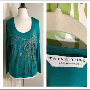 Trina Turk Green Sequins Palm Tree Blouse Top