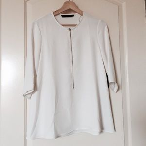 NWT Zara Blouse with Zip Detail