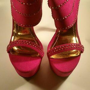 Shoes - FUCHSIA ANKLE CUFF HEELS