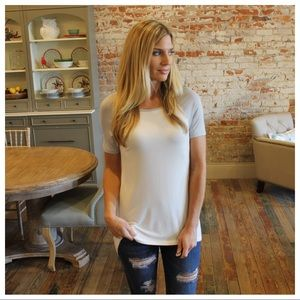 Ivory and gray-blue raglan high low tunic