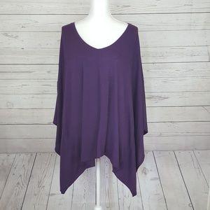*NWT* Nicole Miller deep purple poncho style top