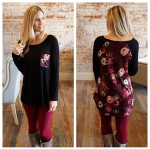 Black tunic with burgundy floral back and pocket