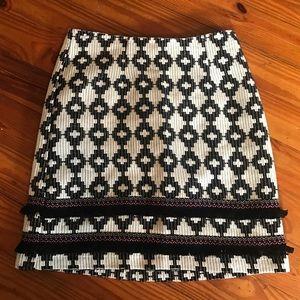 Aztec/southwestern print skirt with fringe