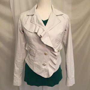 CAbi Waxed Linen Asymmetrical Crop Jacket