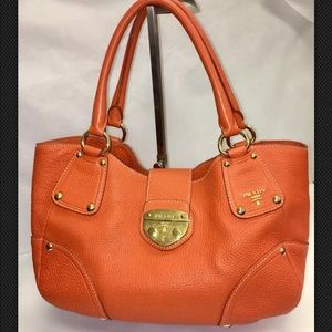 PRADA Push-Lock VITELLO DAINO Bag Papaya Color