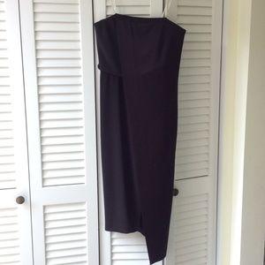 Halston Heritage Black Strapless Cocktail Dress