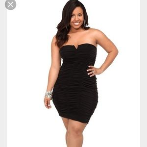 Torrid Strapless Black Ruched Dress