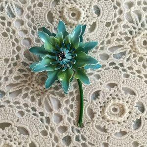 Jewelry - Vintage Blue Metal Flower Brooch
