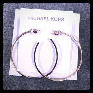 Michael Kors authentic large gold crystal hoops