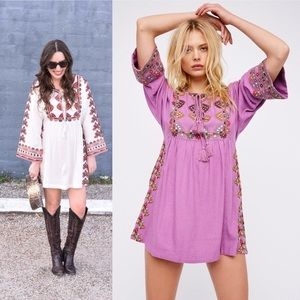 Free People Embroidered Tunic Shift Dress