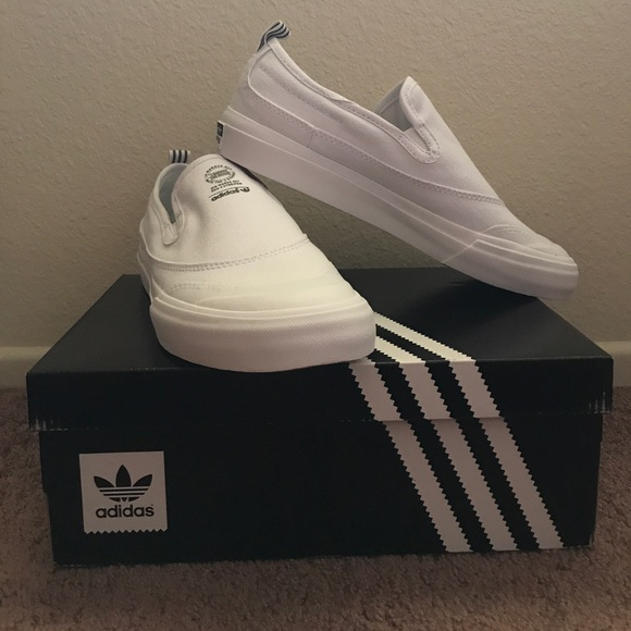 094dfa0c7c7 Sz 6 White Adidas Matchcourt Slip Ons NWT