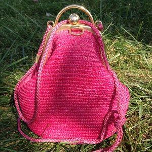 HP🎉Vintage Pink BasketWeave PearShaped bag