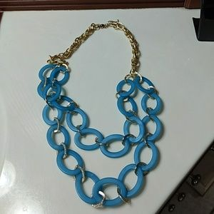 Jewelry - Long pale blue and gold necklace