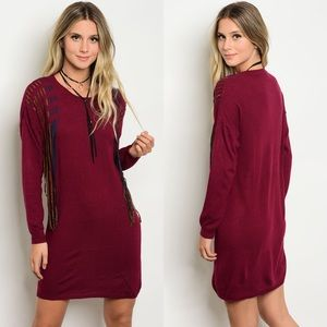 Sweaters - Burgundy Fringe Sweater Dress |