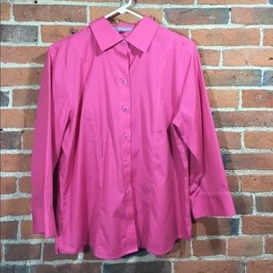 Foxcroft Button Front Shirt Non-Iron Stretch Pink