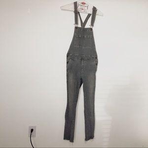 Denim - Customized Distressed Striped Denim Overalls