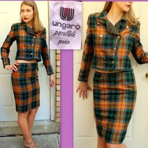 Vintage 80s UNGARO Wool Plaid AVANT GARDE Suit