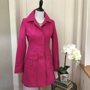 TULLE Fuchsia Pink Wool Trench Coat