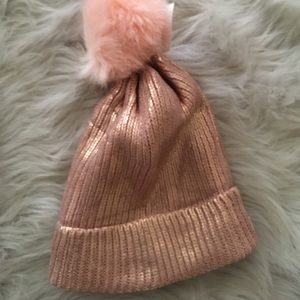 Charlotte Russe Accessories - New! 💓Rose Gold Hat with Pom Pom 797e8e93ec3