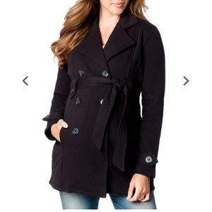 Motherhood Maternity French-Terry Black Pea Coat