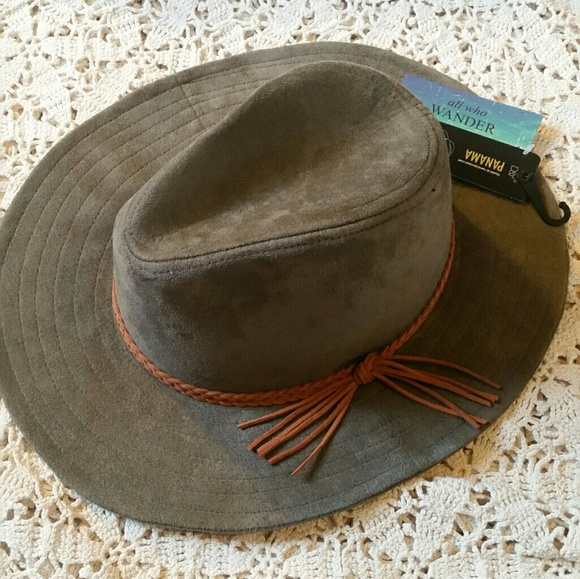 D Y Olive Green Faux Suede Fedora Panama Hat d3a8e3a87727
