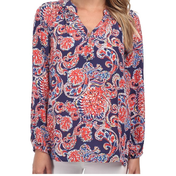 6397eaf567660c Lilly Pulitzer Tops | Ripped Elsa Top In For The Halibut | Poshmark