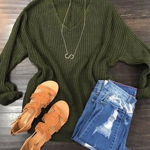 Sweaters - Olive Knitted Sweater