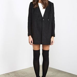 NEW Collarless Black Bouclé Coat from Forever 21!
