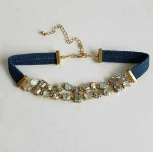 Jewelry - Denim Choker With Crystal Rhinestones
