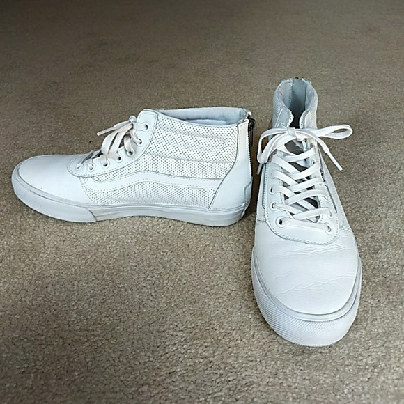 4441b00db2 Vans White High Top Perforated Leather Sneaker. M 59bc03578f0fc400ca029c9c