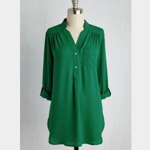 Never Worn! Modcloth green tunic sz M