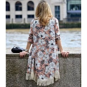 Zara Fringed Floral Kimono Jacket