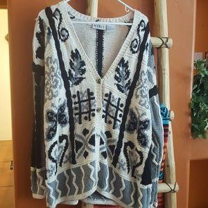 Vintage oversized knit cream and black cardigan