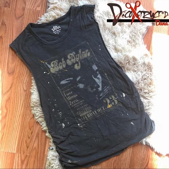 647da96395fc6 Lucky Brand Tops   Custom Distressed Bob Dylan Muscle Teetank   Poshmark