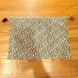 GAP large  leopard zip clutch