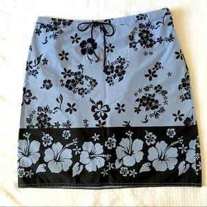 LOFT Floral Straight Skirt Stretch Cotton Side Zip