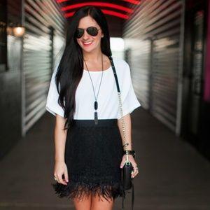 Topshop black feather skirt